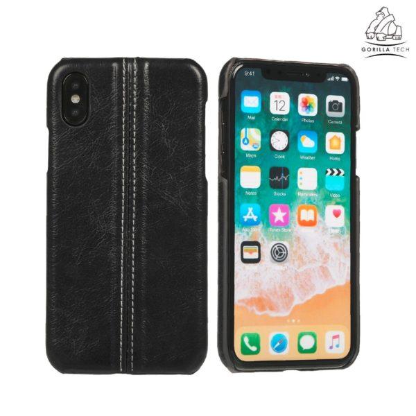 Coque effet cuir premium Gorilla Tech noir pour apple iPhone X/XS